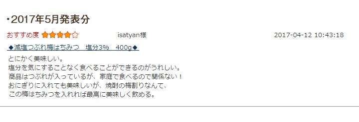 レビュー賞5月